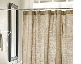 Oder Free Natural Burlap Shower Curtain Handmade Custom Length Available Wide Panel Country Look Rustic