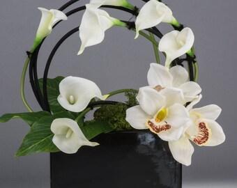 Artificial flower arrangement silk floral arrangement office flowers corporate flowers real touch white calla lily white cymbidium orchids
