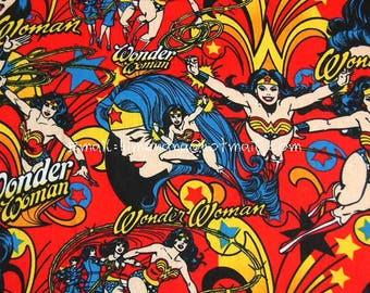 cr4106 - 1 Yard Cotton Woven Fabric - DC Comics Superhero, Wonder Woman - Red (W105)