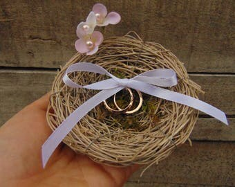 Rustic vine bird nest ring bearer,country wedding,Ring Bearer,Rustic Ring Holder,Nest Ring Bearer,twig nest and moss ring bearer pillow