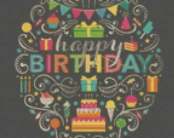 "Cross stitch pattern ""Happy Birthday"""