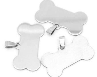 10 Pcs Stainless Steel Dog Tag Bone Stamping Blanks