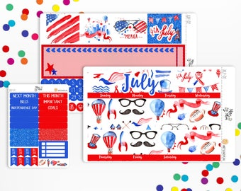 July- MONTHLY KIT- Planner Stickers, 4th of July, Red, White, Blue