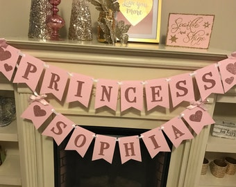 Pink and Gold First Birthday Banner. Princess birthday banner. Princess birthday party decor