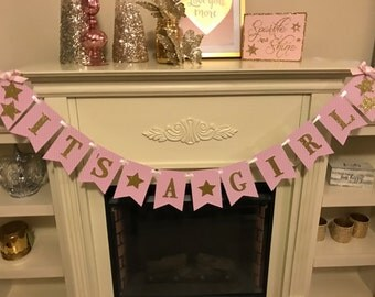 Twinkle Twinkle Little Star  Banner, Pink and Gold Baby Shower Banner ,Pink and Gold  Baby Shower Decorations, Gold Glitter Banner