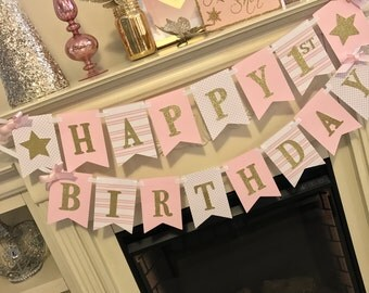 Twinkle Twinkle Little Star Banner,First Birthday Girl  -First Birthday Banner-Pink and Gold 1st Birthday Girl