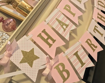 Pink and gold first birthday,pink and gold first birthday girl decorations,   first birthday girl  banner, pink and gold