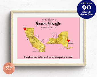 Grandmother Gift from Daughter | Mothers Day Gift Printable Art | Personalized Mom Map | Grandma Gifts | Mom Long Distance | Mom Daughter