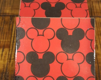 Set of 4 travertine tile coasters Mickey Mouse design