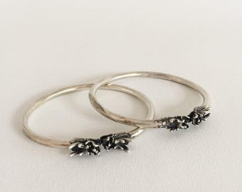 Pair, tribal, Miao, bracelets, silver, women, ethnic and fair trade, vintage, jewelry.  Design bracelet unisex. Tribal style.