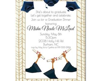 African American Graduation Announcement -Grad Hands | African American Graduation Party Invitation | High School Graduation Party