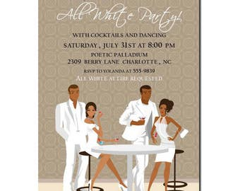 African American All White Party Invitation | African American Birthday Party Invitation | African American Party Invite | Adult Birthday