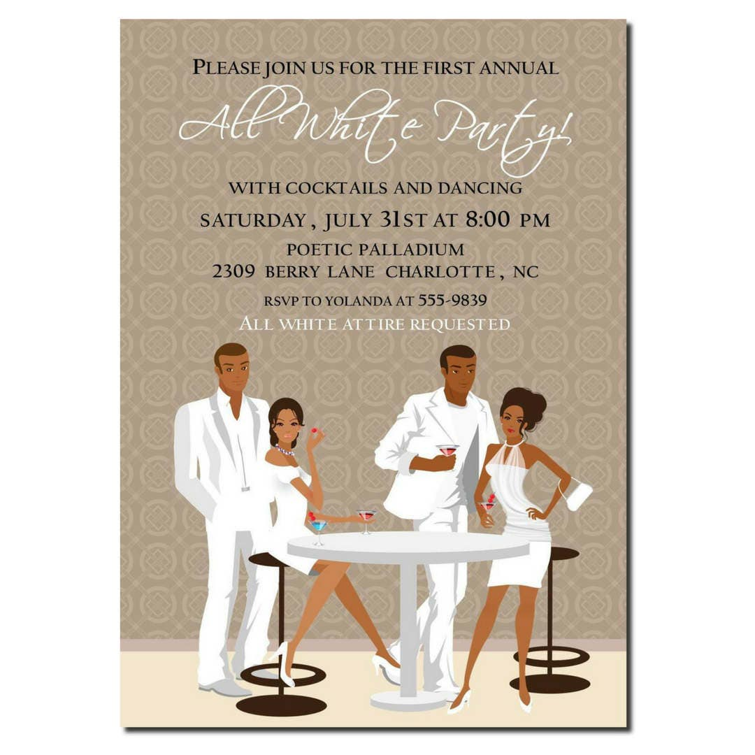 african american all white party invitation african american, Party invitations