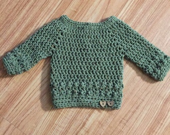Crochet baby sweater 0-3m