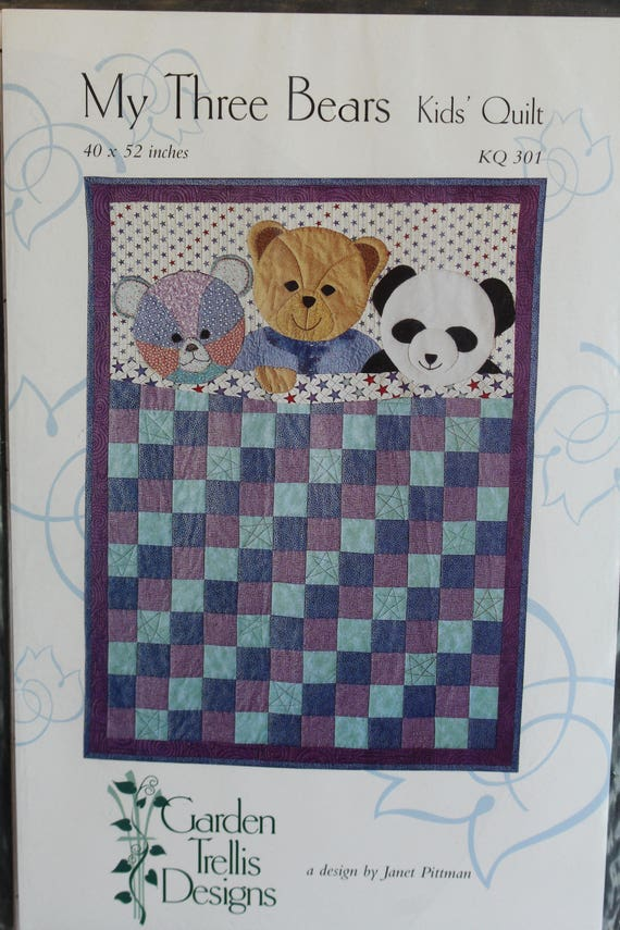 My Three Bears Kids Quilt Pattern KQ 301 by Garden Trellis