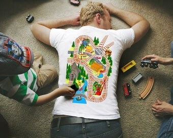 TRAIN SET INCLUDED!!!Train Play Mat T-Shirt, Father's gift, Train Map Shirt, Gift T shirt, T shirt For Dad.