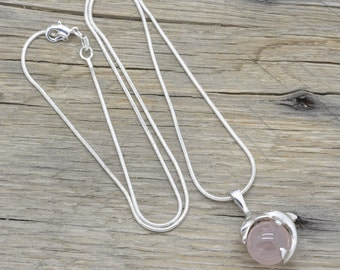 "Vintage Sterling Silver Rose Quartz Dolphin Pendant 925 Jewelry With 20"" Chain"