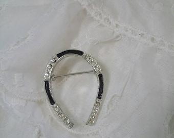 Horseshoe Silver and black rhinestone brooch