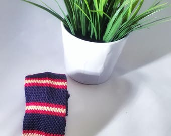 Navy, Red and Gold knitted tie