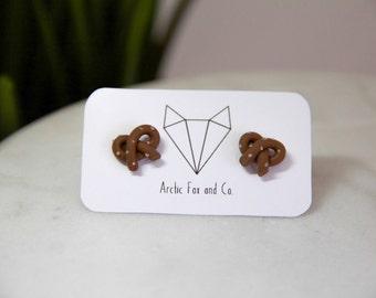 Pretzel Stud Earrings - Handmade Polymer Clay