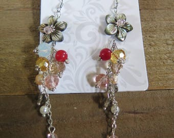 Long flower beaded dangling earrings