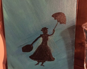 """Acrylic Painting - Mary Poppins - 11"""" x 14""""  REDUCED PRICE!"""