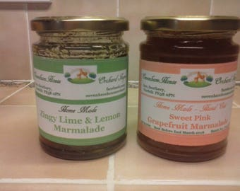 Home Made Marmalade 300g 12oz jars choose between Sweet Pink Grapefruit or Zingy Lime and Lemon or try both for a special price of 5 GBP
