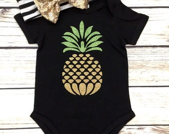 Gold Pineapple Design Bodysuit Outfit For Baby Girl