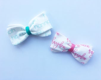 """Personalized Name Hair Bow Tail Bow for Babies & Toddler Girls Custom Name Hair Accessory on a Nylon Headband (3"""") or Alligator Clip (4"""")"""