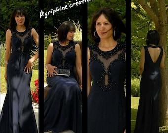 Midnight Blue evening dress size 38/40/party dress midnight blue medium, large size