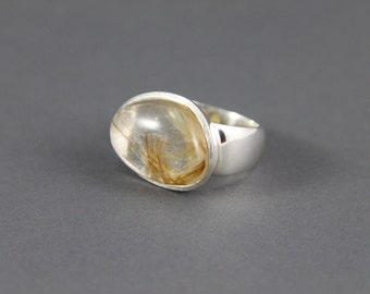 Sterling Silver rutilated quartz ring