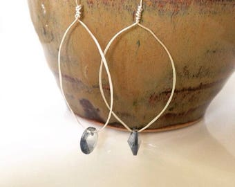 Silver earrings with denim blue accents. SOLD
