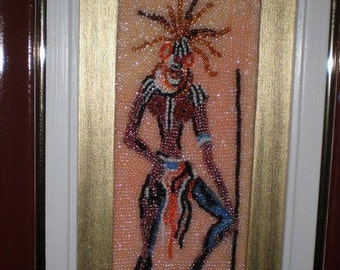 handmade seed beads african wall artwork