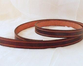 Dark brown leather belt 2 cm