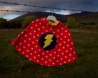 Superhero cape - red stars with lightening bolt