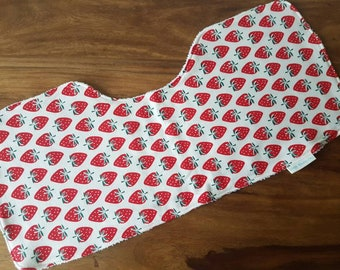 Red and White Strawberry Print Burp Cloth
