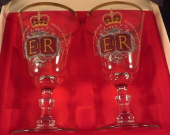 Queen Elizabeth II  Silver Jubilee 1977 Commemorative Ravenshead Wine Goblets & Original Box