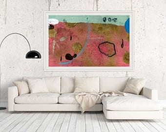 Giclee Large PRINT Abstract Art Seafoam Blue Wall Art Pink Fine Art Print Large Gift for Friend Modern Home Decor Large Wall Art Modern Home