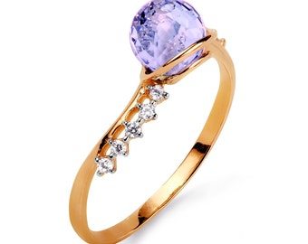 Amethyst gold ring,14K gold ring,Fancy cut Amethyst ring,diamonds gold ring,modern gold statement ring