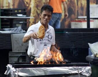 A satay street food seller in Singapore - Asia Street Photo - Digital Download