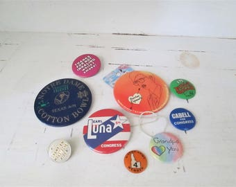 Vintage Pin Button Collection, Pin Back Buttons, Lapel Pins, Collectible Buttons