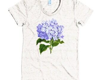 Purple Hydrangea || Tri-Blend Short Sleeve Women's Track T  American Apparel  || Tee