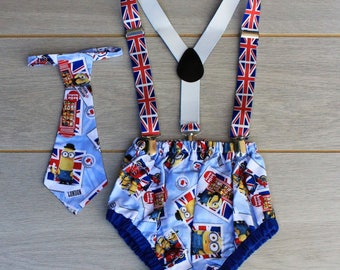 British Minions Cake Smash Outfit - Photography Prop