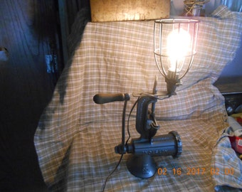 Steampunk Meat Grinder Lamp
