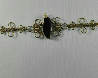 Brass Bracelet Obsidian