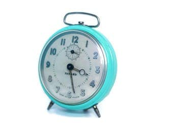 Turquoise vintage alarm clock from France -- restored French home decor -- old clock