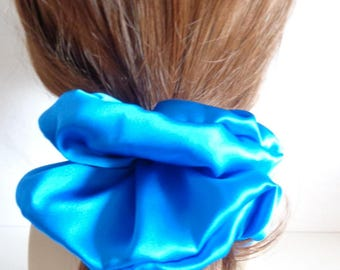 blue  Silk   Scrunchies   chouchou , Blue hair elastic,  Hair Accessories  , Handmade by  ScrunchiesCo .