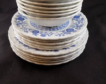 Vintage Blue Heritage Enoch Wedgwood LTD Popular Blue Onion Pattern Small bowls, saucers, and dessert plates