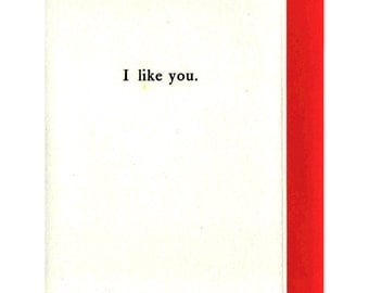I like you. Letterpress Card