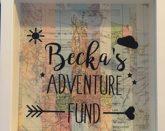 Our adventure fund, travel, wanderlust, family fund, savings fund, Adventure fund box frame, money box frame, birthday gift, box frame